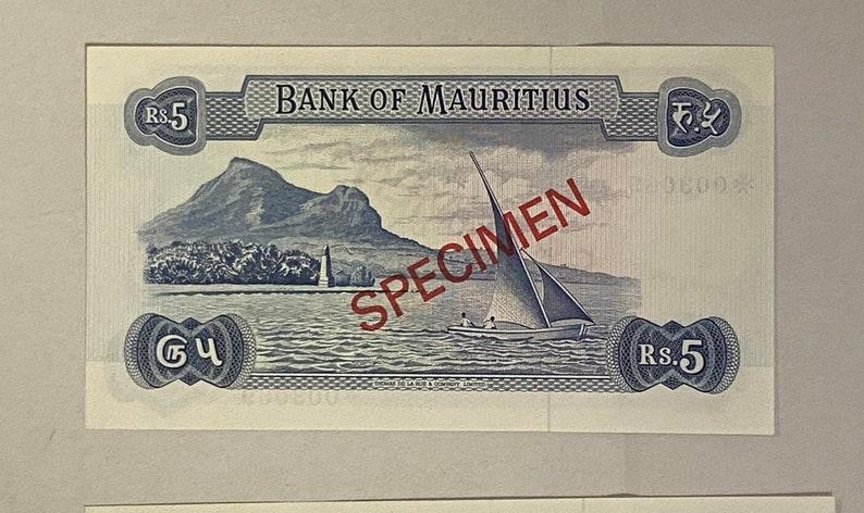 25 /& 50 Rupees Unc. 5 10 Mauritius 1978 Banknotes Specimen Set