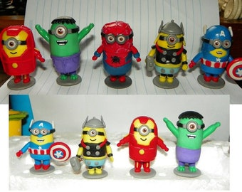 minions super heroes of the League of Justices/polymer clay/little mininos/beatiful.