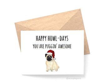 Pug Card// Christmas Card, Pug Lover, Dog Lover, Card for Pug Lover, Gift for Dog Lover, Pugs, Funny Christmas Card, Dogs