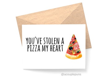 Pizza My Heart// Pizza Lover, Pizza Pun, Pizza Card, Funny Card, Punny Card