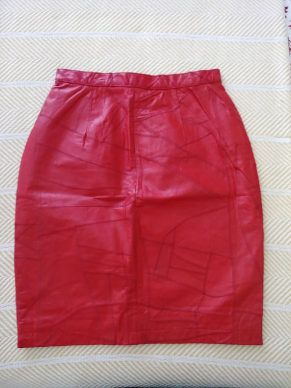Alamos 1980s  Red Leather Pencil Skirt - SASSY!
