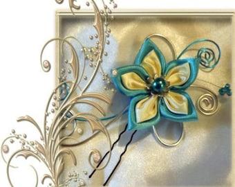 peak bun turquoise and ivory for wedding