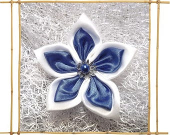 Royal Blue and white satin flower