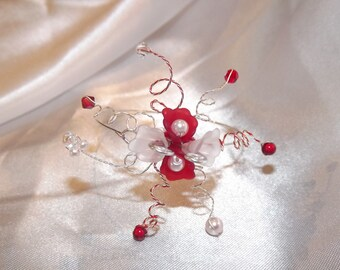 Red and white bracelet for bride
