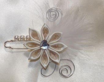 Ivory wedding dress train clip