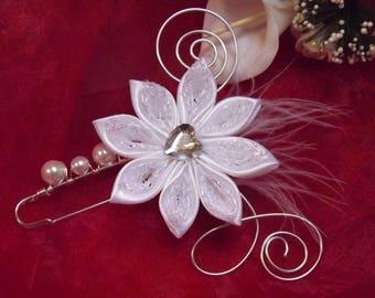 white wedding dress train clip