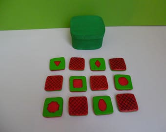 Memory game shapes in polymer clay in wooden box
