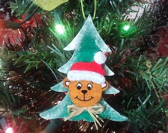 Christmas wooden Christmas tree with brown bear