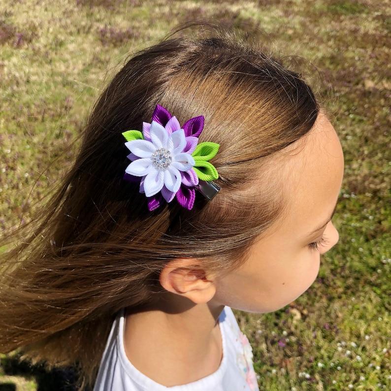 Kanzashi flower hair clip Hair clip for girl Kanzashi hair clip Ivory Pink Navy flower