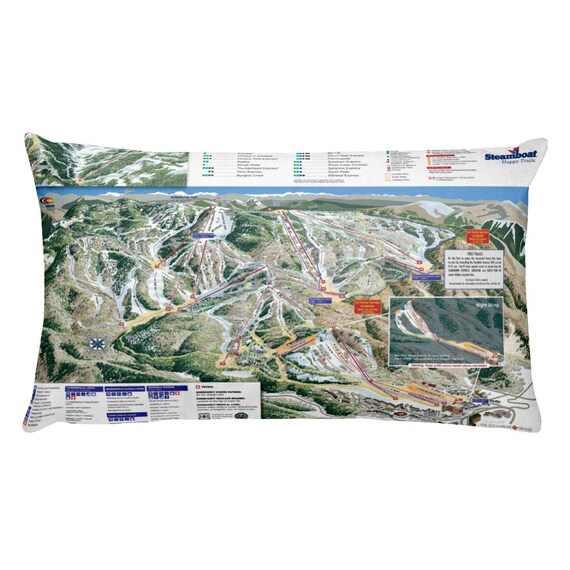 Steamboat Springs Ski Snowboard Trail Map Pillow