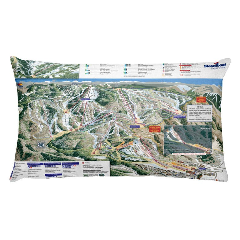 Steamboat Springs Ski Snowboard Trail Map Pillow | Etsy