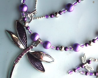 Purple and Silver Dragonfly Necklace and Earrings