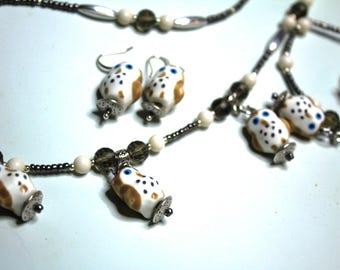 Tiny Ceramic Owls Necklace, Earrings and Bracelet Set