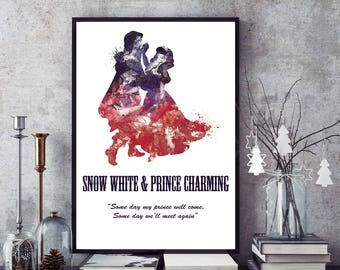 Personalised Original Disney Art Print Snow White and Prince Charming Illustration by Artist Tas Kreations Watercolour/Ink Effect Quote