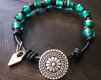 Czech Glass and Leather Handmade Bracelet with Silver Accents