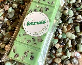 Emerald Wax Melt, Tumbled Emerald, Evergreen Scented Wax Melt, Snap Bar Wax Melt, Soy Wax Melt