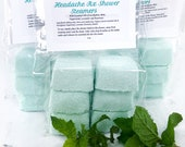 Peppermint and Eucalyptus Shower Steamers, Headache Relief Shower Fizzy, Shower bombs with Natural Essential oils, Aromatherapy for migraine