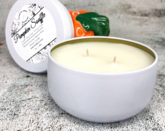 Double wick Candle in White tin made with Luxury Coco Apricot Crème wax, Pumpkin Soufflé Coconut wax candle, Holiday and Xmas gift