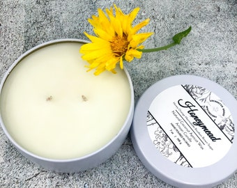 Double wick Candle in White tin made with Luxury Coco Apricot Crème wax, Honeymead Coconut wax candle, Holiday Xmas gift, Cozy home décor