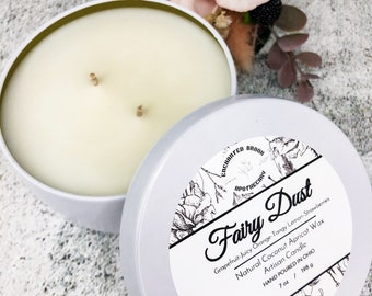 Double wick Candle in White tin made with Luxury Coco Apricot Crème wax, Fairy Dust Coconut wax candle, Holiday and Xmas gift
