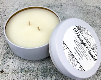 Luxury Coconut Apricot wax Candle in White tin, Midnight Chocolate Coconut wax candle, Holiday Xmas gift, Cozy home décor