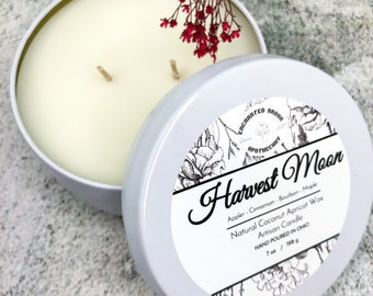 Harvest Moon Coconut wax candle, Double wick Candle in White tin made with Luxury Coco Apricot Crème wax, Holiday Thanksgiving and Xmas gift