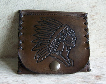 Large Hand Carved Native American Indian Leather Wallet Large