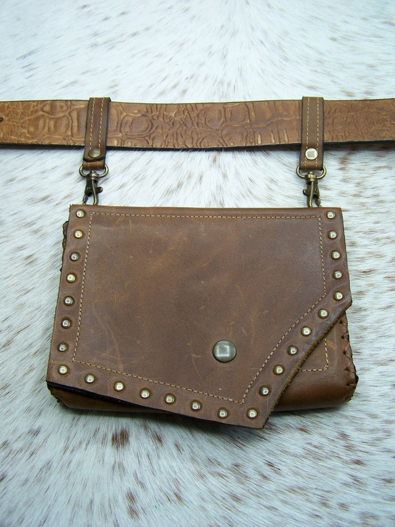 Brown waxed leather belt bag