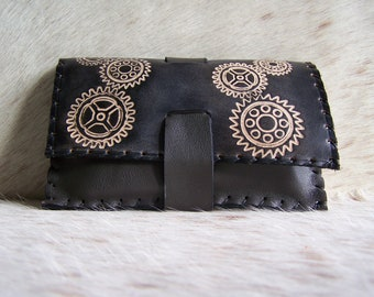 Tobacco pouch leather craft, black, steanpunk, functional and sturdy, for men or women