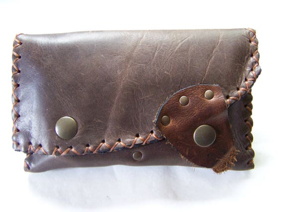 Tobacco Pouch Leather Brown Craft Medieval Celtic Style