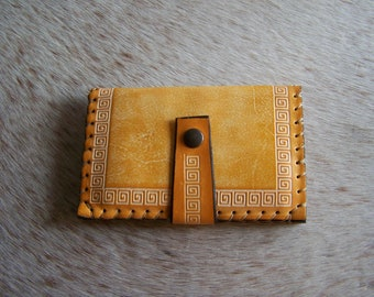 Leather wallet, passport leather, honey-colored, simple and chic for men or women