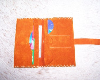 Suede leather wallet, passport leather nubuck, Orange, for women or men