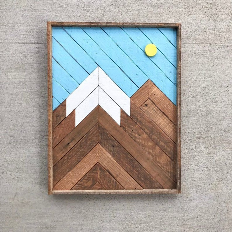 Mountain Wood Art Reclaimed Wood Wall Art Mountain Wall Art Wood Wall Art Mountain Decor Wooden Mountain Geometric Wood Art