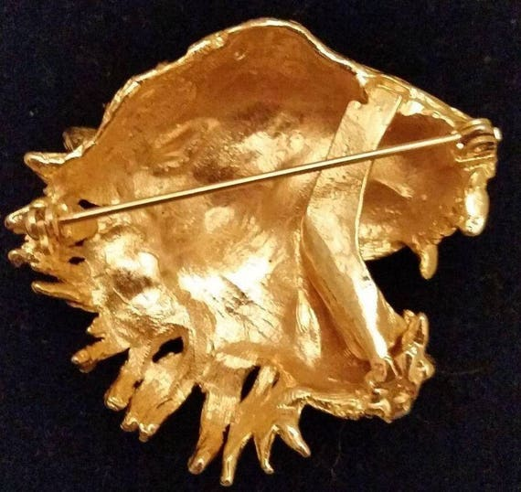Bold Snarling Tiger Head Face Brooch - image 3