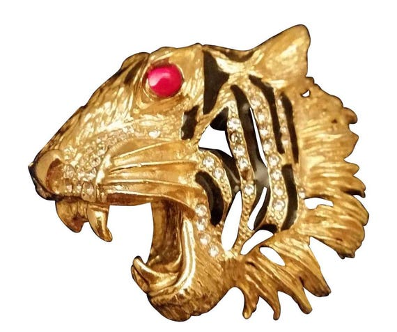 Bold Snarling Tiger Head Face Brooch - image 1