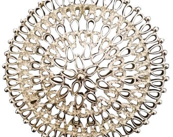 Sarah Coventry Large Round Filigree Silver Tone Brooch