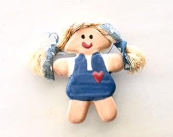Girl Brooch, Figural Brooch, Girl Pin