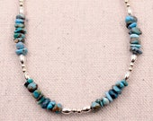 Genuine turquoise chip necklace Mother in law gift Sundance necklace Best selling items Dainty necklace Top selling item Blue stone necklace