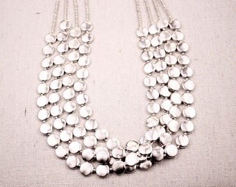 f11787eaae77 Seed bead necklace Taxco jewelry Coin necklace Beaded necklace Statement necklace  Sterling silver necklace Disc necklace Layered necklace