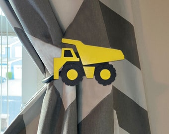 Nursery / Kids Room Decor Curtain Holdback Tieback - Dump Truck Decal, Construction theme