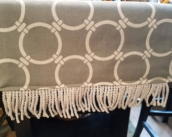 Gray and White Table Runner and Dresser Scarf