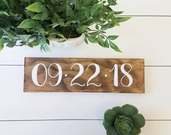Wedding Date Sign,Anniversary,Bridal Shower,Gift,Handmade,Wood,Stained,Gift Ideas,Personalized,Custom,Present,Family,Save the Date, vinyl