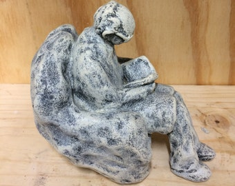 Grandpa Reading in Favorite Chair hand painted plaster faux stone