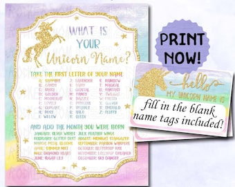 Unicorn Party Games Sign, Unicorn Name INSTANT DOWNLOAD Game PRINTABLES include Name Label Tags, Birthday Party Decorations, Rainbow Party