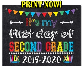 photograph about First Day of 2nd Grade Printable Sign titled 2nd quality indicator Etsy
