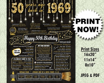 50th Birthday INSTANT DOWNLOAD Poster 1969 Sign Gift For Women Men Party Decorations PRINTABLE Chalkboard Fun Facts