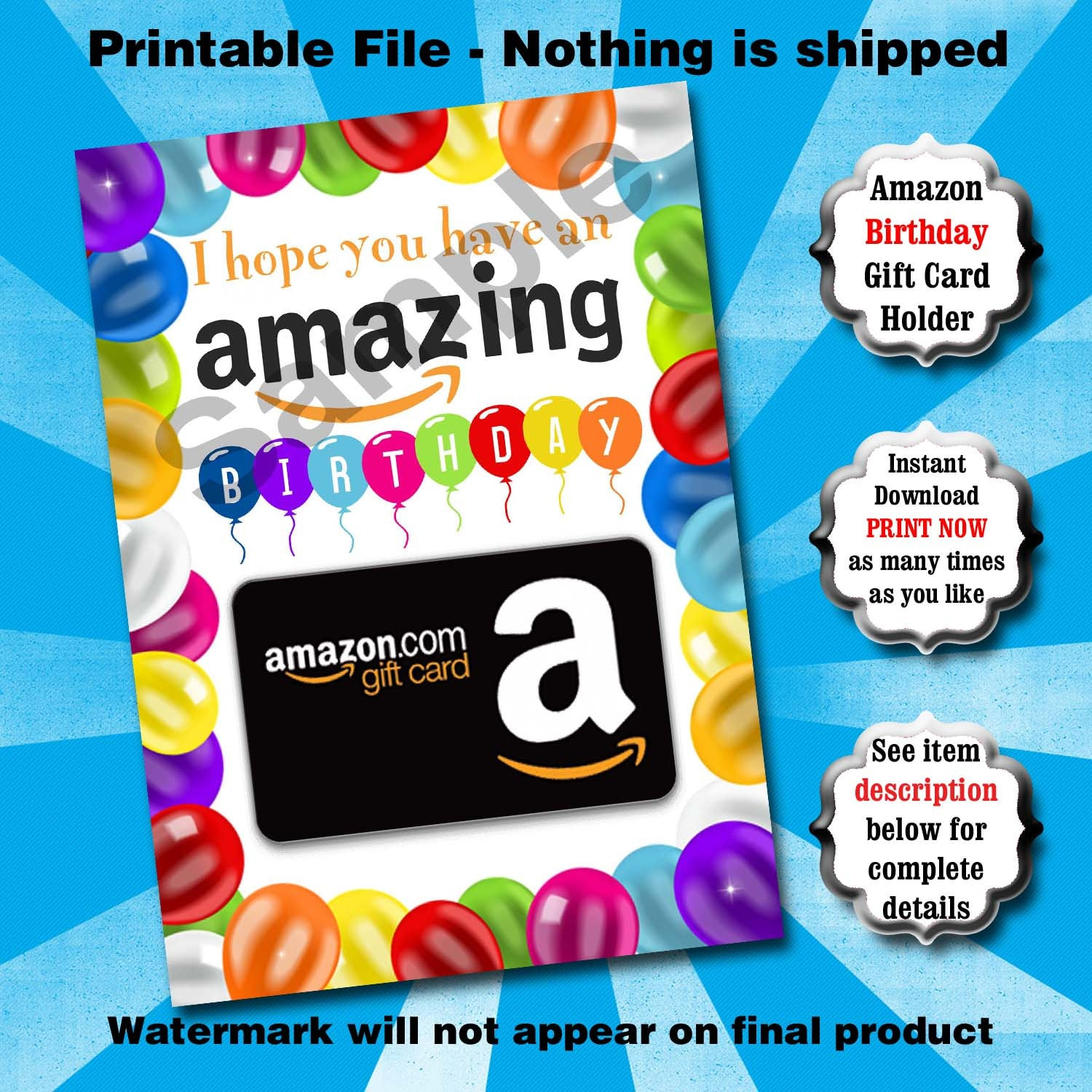 Birthday Gift Card Holder PRINTABLE Amazing