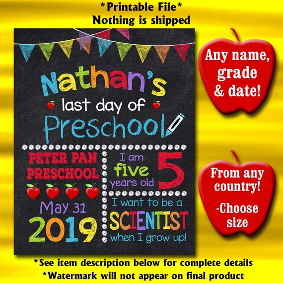 graphic regarding Last Day of Preschool Sign Printable known as Final Working day Of College or university Indicator, Ultimate Working day Of Preschool Signal, Preschool Grad Indicator, Printable College Chalkboard Indicator, Kindergarten, Very first Quality Indicator