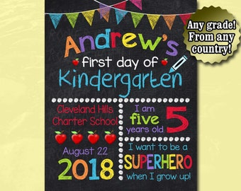First Day Of School Chalkboard Sign, Back To School Sign, First Day Of School Sign, School Boy, Kindergarten Sign, Printable Sign, Preschool