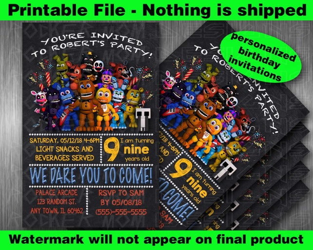 Five Nights At Freddys Birthday Invitations Party Supplies 5 Printable FNAF